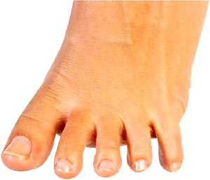 Funny facts: Photo of woman's foot. Foot spreading its toes.