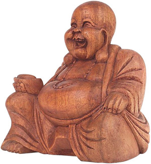 Laughing buddha wooden figurine