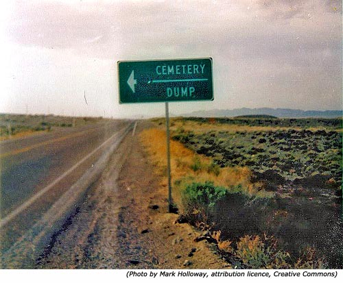 Funny road sign and funny cemetery sign: Cemetery Dump!