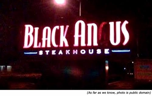 Hilarious signs: Neon sign. Black Anus Steak House