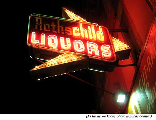 Funny neon signs. (Roths) child liquors