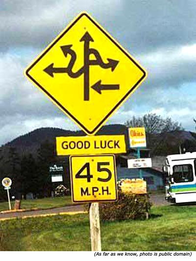 Funny traffic sign with lots of arrows in all directions: Good Luck. 45 M.P.H.!