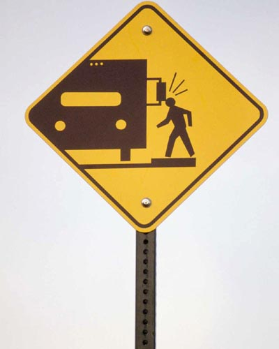 Funny street signs and funny warning signs about watching out for autocampers' side-view mirror