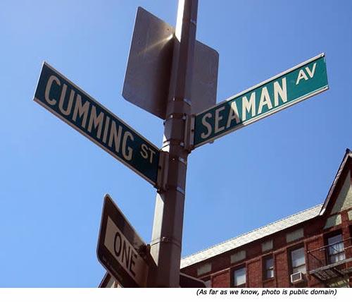 Funny street names: Cumming Street & Seaman Avenue!