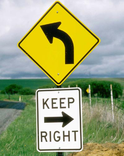 Funny street sign: Keep Right!
