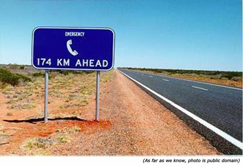 Really funny signs and funny traffic sign: Emergency phone 174 km ahead!