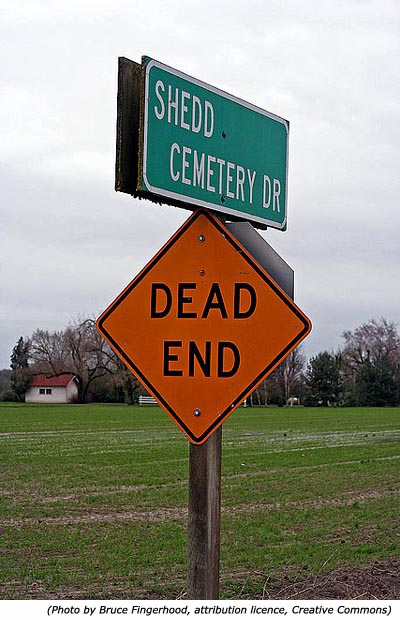 Funny traffic sign and funny cemetery sign: Shedd Cemetery! Dead End!