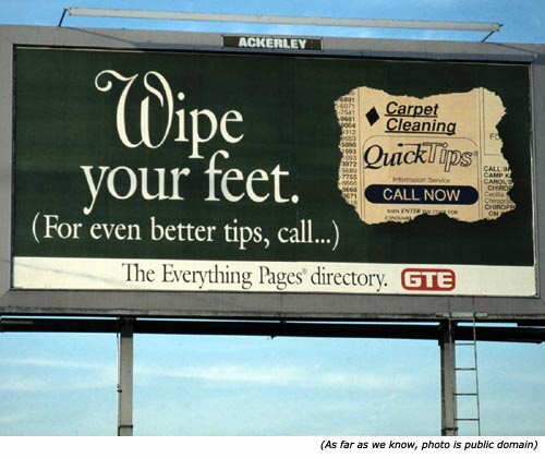Silly signs, funny road signs and funny information signs: Wipe your feet. (For even better tips, call ...)!