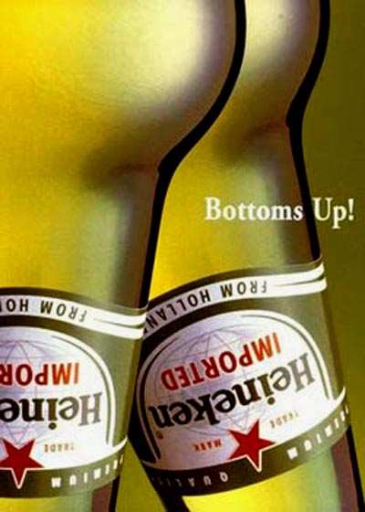 Heineken commercials - legs - bottoms up - beer ads