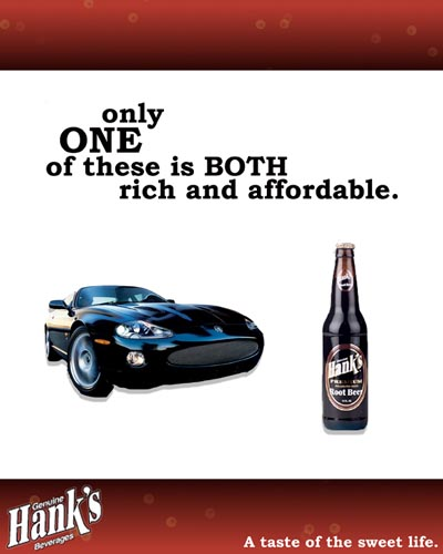Hanks beer alcohol ad - Only one of these is both rich and affordable - car vs. beer.