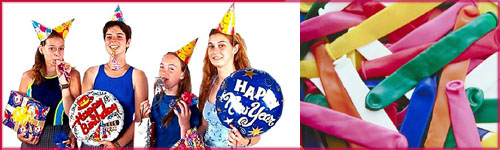 Happy birthday quotes - birthday party with hats and balloons.
