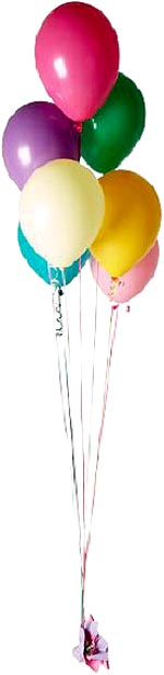 A bunch of colorful birthday balloons.