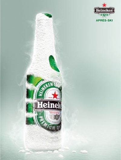 Heineken ads - hand on bottle - after ski alcohol ads
