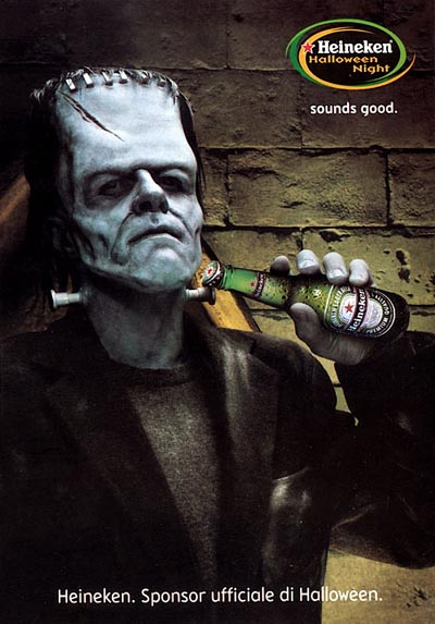 Great Heineken Ads with Frankenstein - Heineken Halloween Night! Sounds good! - great alcohol ads