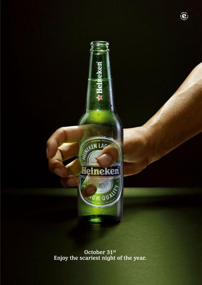Heineken ads - Hand going through bottle - fab alcohol ads