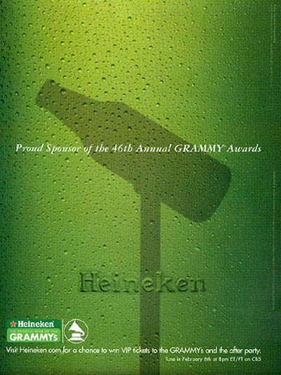 Heineken beer ads - sponsor of grammy awards