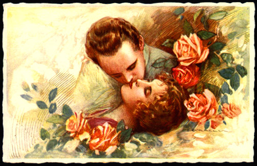 Vintage postcard - drawing of couple in love kissing - with roses