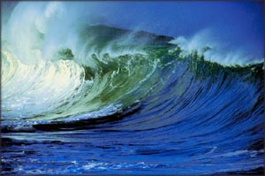 Big frothing wave representing strong will and inner power.