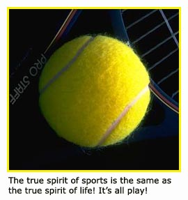 Close up picture of tennis ball with inspirational quote for athletes!