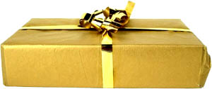 Every day is a gift: Photo of gift wrapped in golden paper.