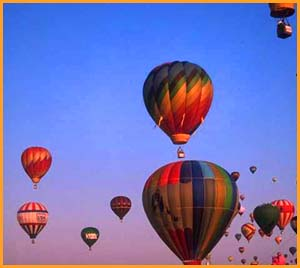 Only the sky is your limit: Photo of colorful hot air balloons.