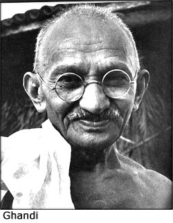 Portrait of Mahatma Ghandi.