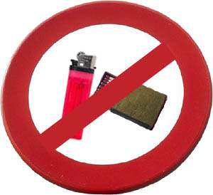 Funny words on love: Sign with no lighter and no matches. Forbidden sign.