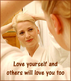 Love: Woman looking at herself in the mirror smiling doing her hair.