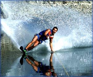 Man making a turn on his jet ski.