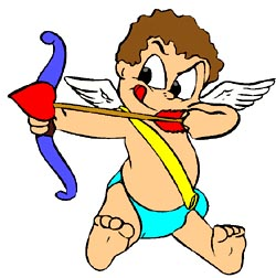 Funny drawing of little amor with bow and arrow