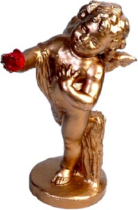 Photo of statue of cupid holding a red rose
