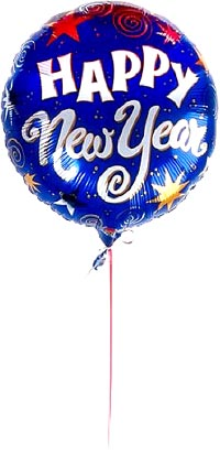 Happy New Year written on a blue Balloon