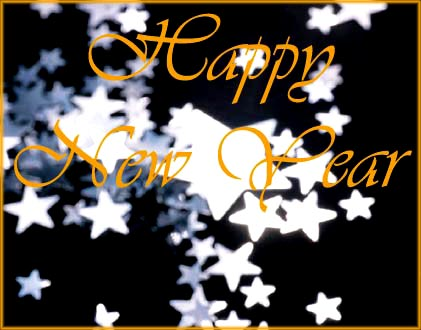 Happy New Year card with silver stars and golden writing.