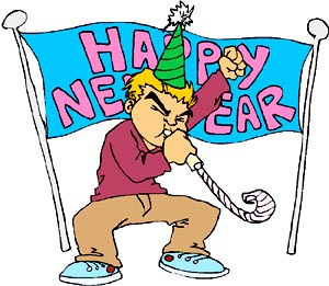 happy new year banner drawing of young boy blowing a new years noise maker