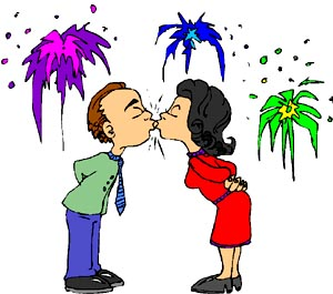Drawing of man and woman kissing in front of fireworks.