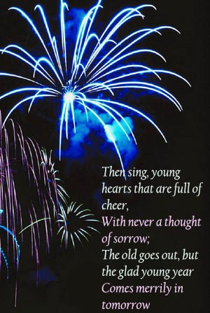 New Years Quotes by Emily Miller: Blue firework on black night sky.