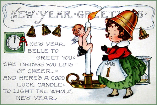 Vintage New Years cards: Little girl with bell hat and sweet New Years poem.