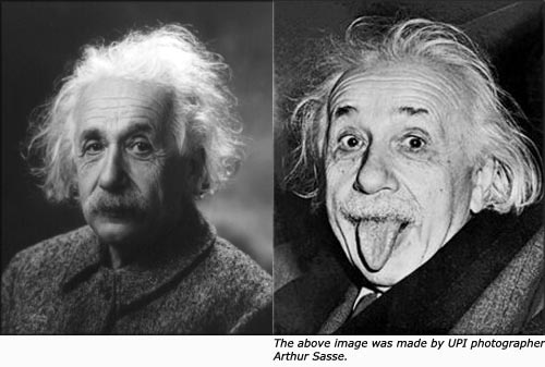 Picture of Einstein with funny hair and sticking out his tongue.