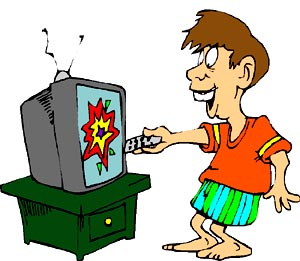 Funny drawing of man in front of TV with remote.