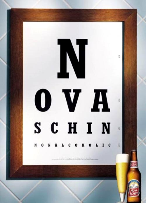 Nova Schin ads non-alcoholic - Letters on a board!