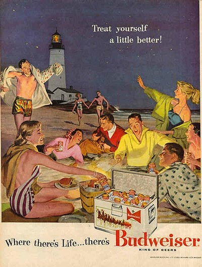 Budweiser beer commercial - Young people enjoying an evening on the beach! Where there's life there's Bud!