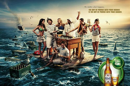 Primus beer ads - Party on a raft. No Matter What Happens. The Day of Primus with Your Buddies Is the Day of Primus with Your Buddies.