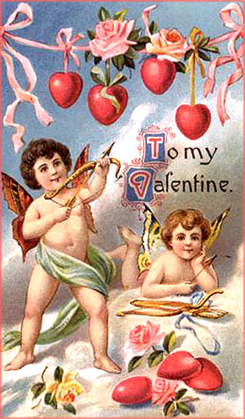Two cupids with colorful butterfly wings holding bow and arrows on a free printable Valentine card.