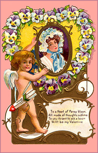 Cute Valentine Cards to print: Little cupid holding a picture with a woman and lots of purple pansies forming a heart.