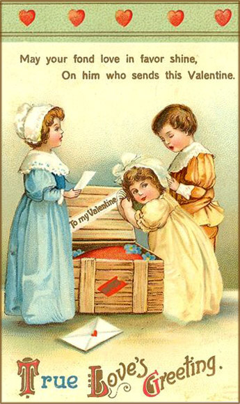 Cute vintage Valentine cards to print. Three children looking inside wooden chest and finding love letters.