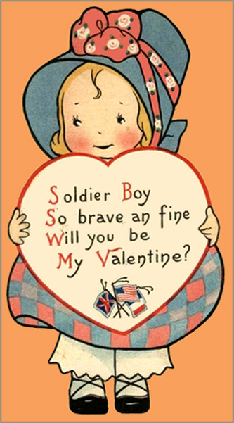 Old Valentine Card made during the war. Little girl holding a heart with a love poem for Valentines Day.