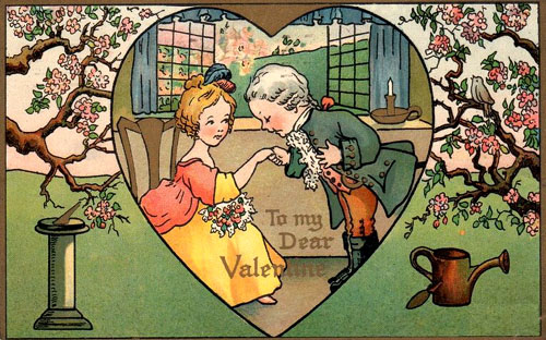 Very old Valentines Day picture of man kissing a woman's hand. Valentine cards to print.