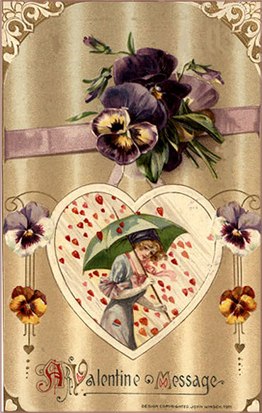 Free Valentines Day pictueres to print. Woman protecting herself with a green umbrella as it is raining with hearts.
