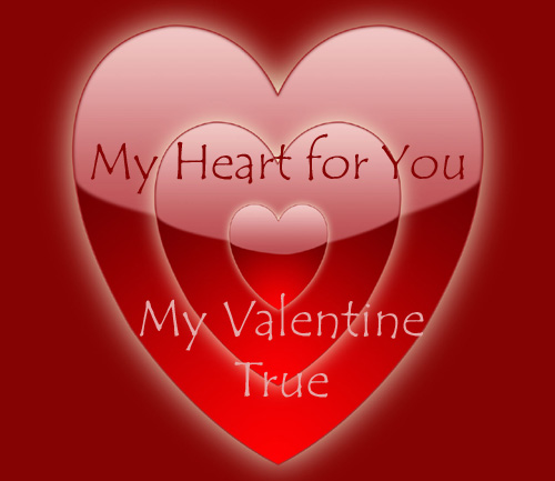 Beautiful Valentine graphics with red hearts inside red hearts and a Valentine poem for Valentines Day.