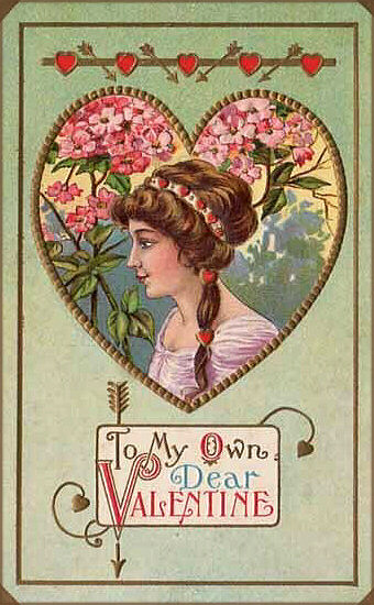 Free printable Valentine card: Woman in profile inside a heart. Pink flowers in the background and written Valentine greeting.